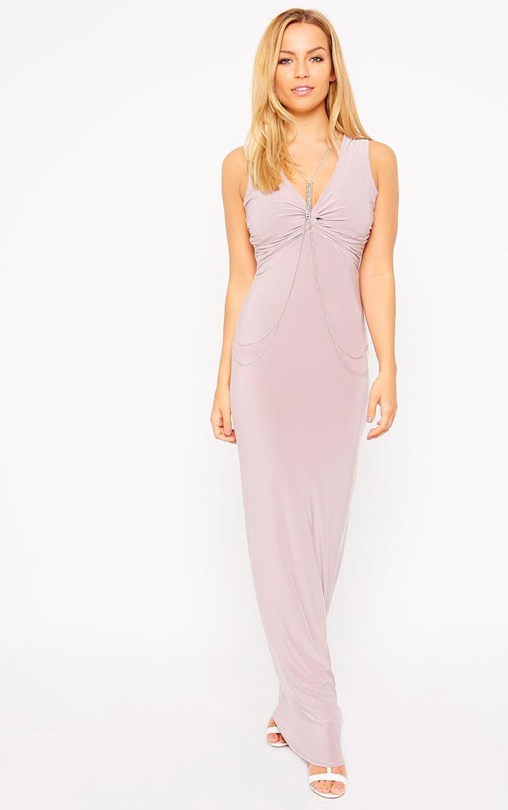 Zena Mauve Knot Front Slinky Maxi Dress 1
