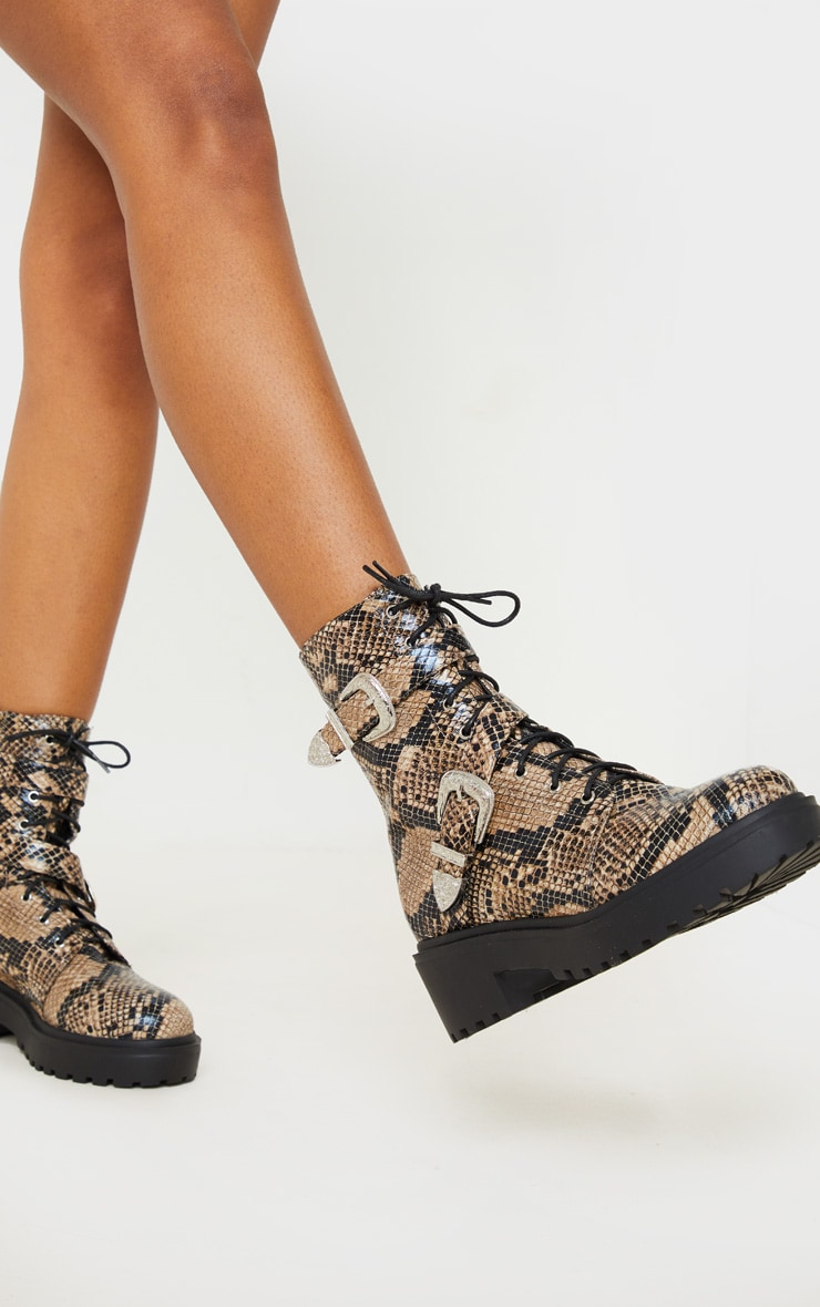 Snake Western Buckle Cleated Ankle Boots 2