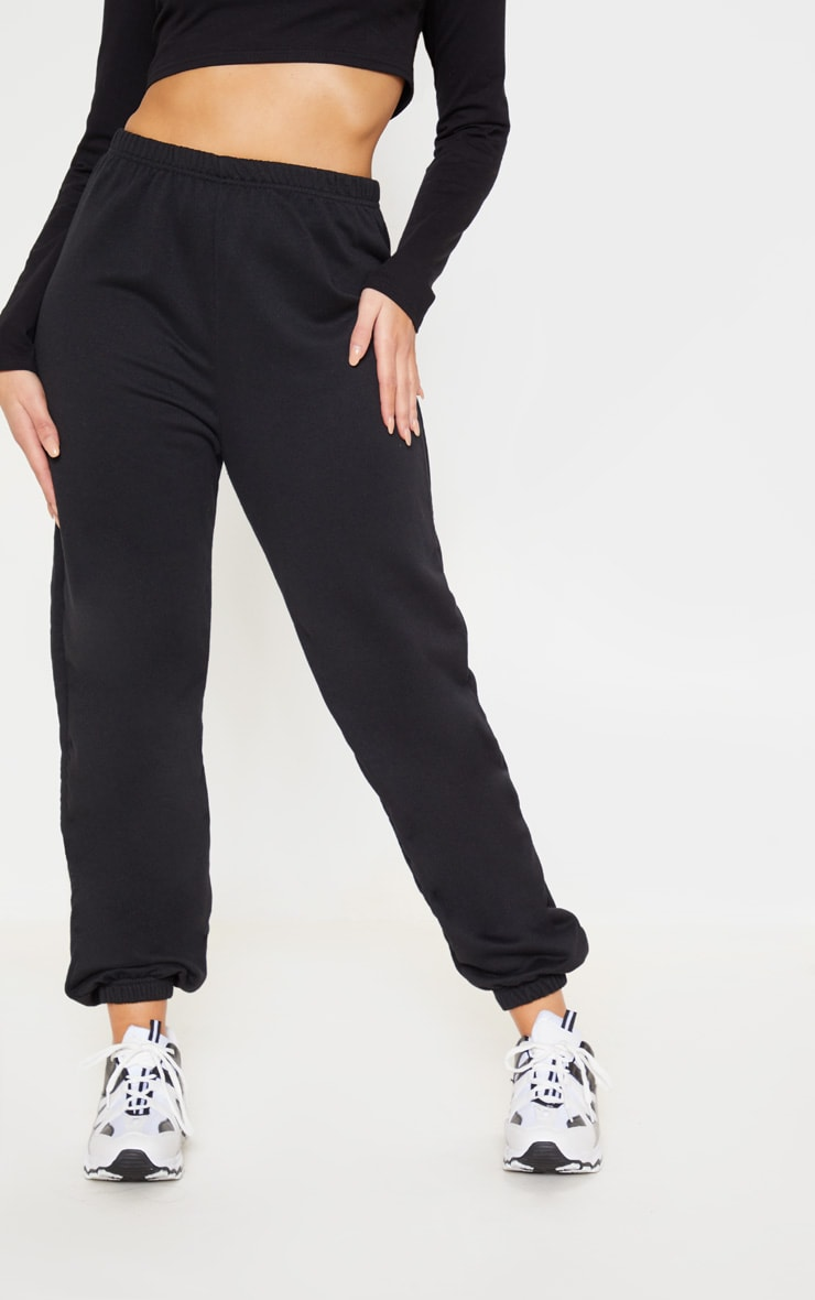 Black Basic Cuffed Hem Track Pants 3