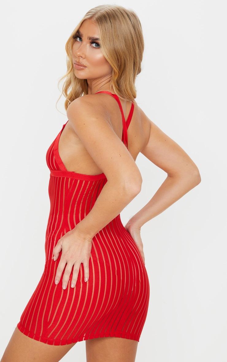 Red Stripe Mesh Slip Dress 2