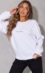 PRETTYLITTLETHING White Embroidered Oversized Sweatshirt 1