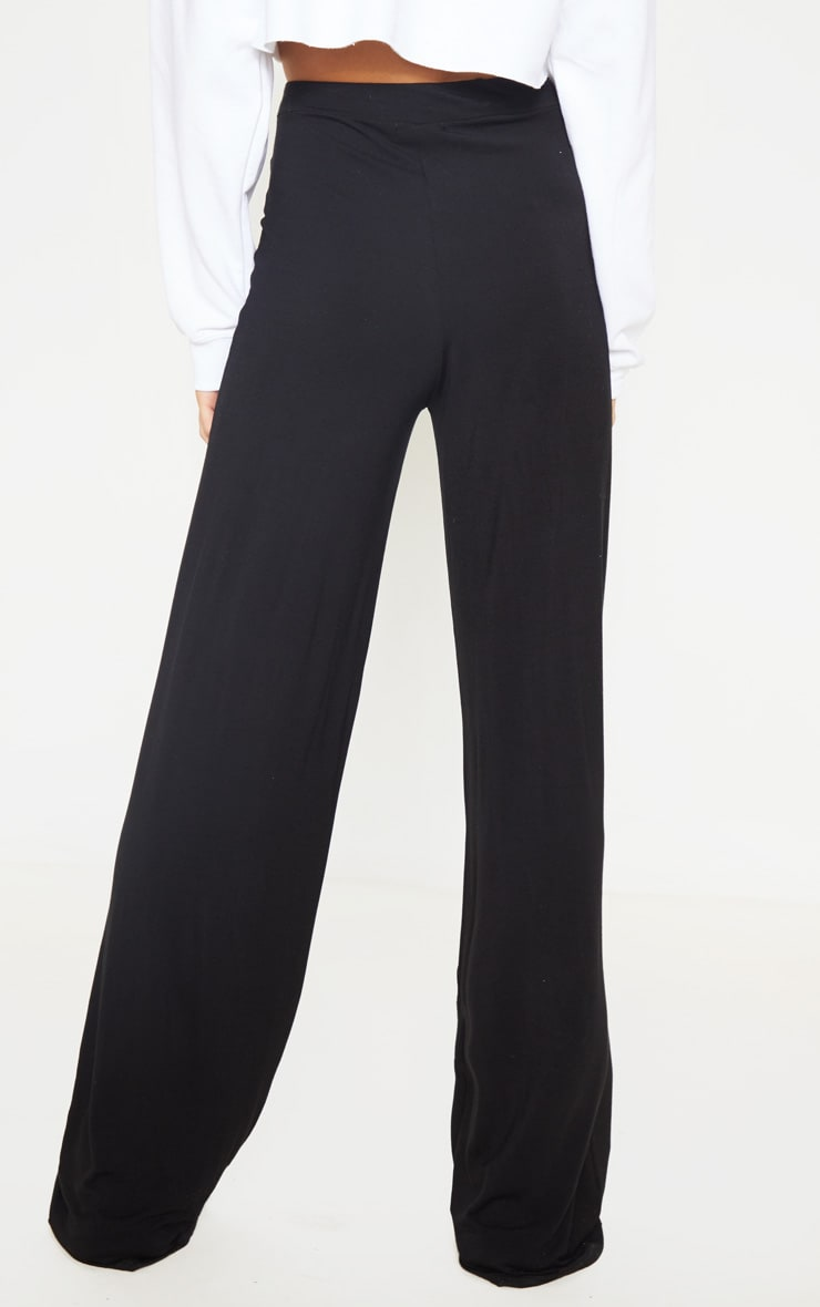 Tall Black Basic Jersey Wide Leg Pants 3