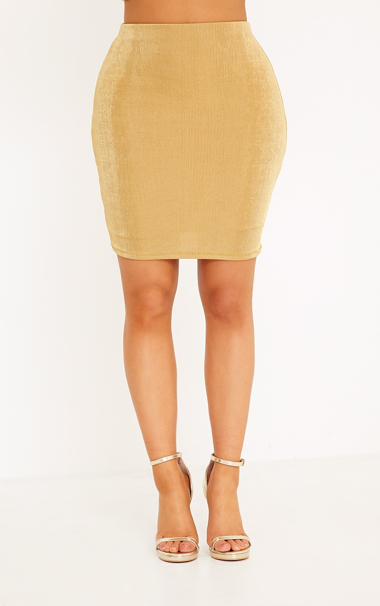 Shape Lyndsey Gold Slinky Mini Skirt Co-Ord 2