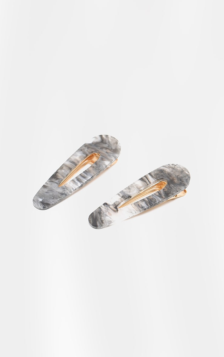 Grey Smoky Marble Effect Large Two Pack Clip 2