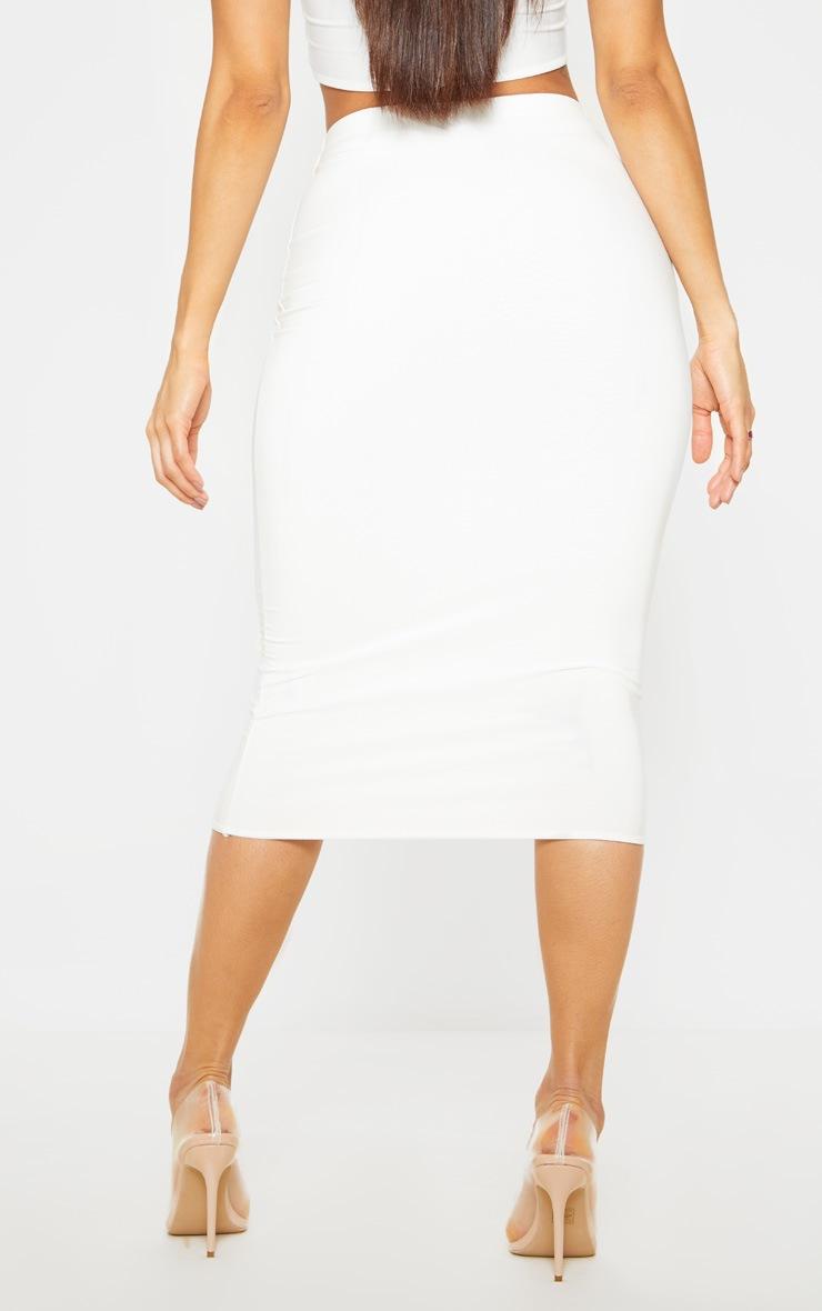 White Second Skin Slinky Midi Skirt 2