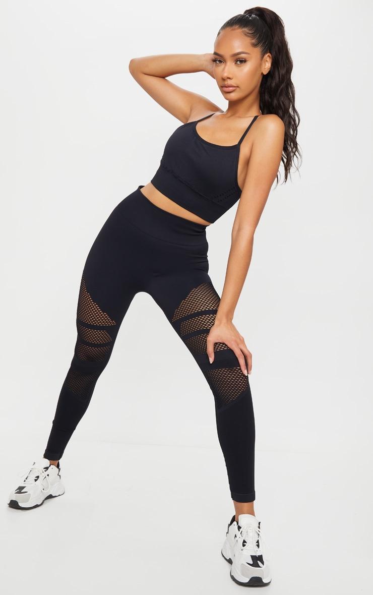Black Seamless Cut Out Gym Leggings 1