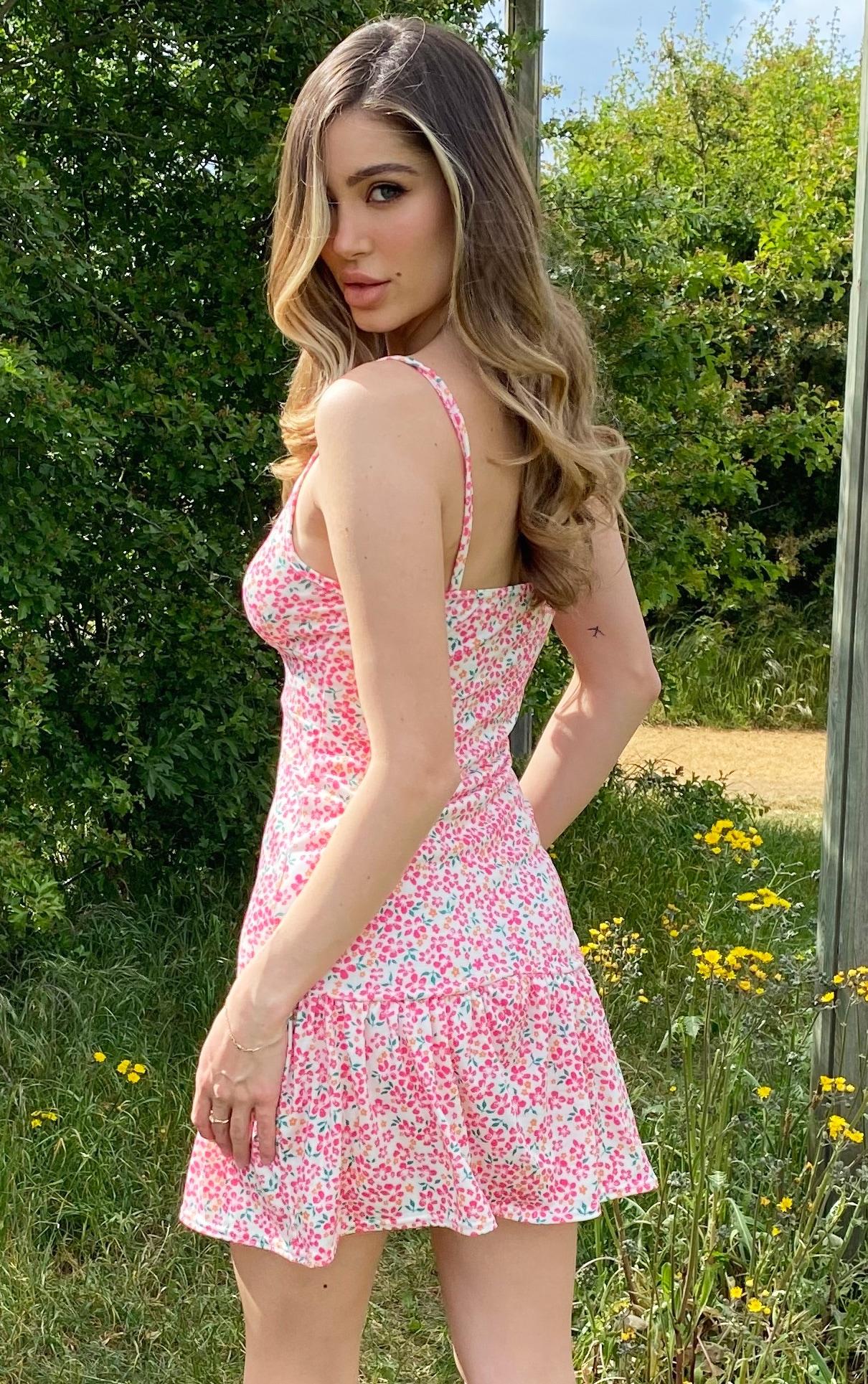 Pink Floral Print Frill Hem Strappy Shift Dress 2