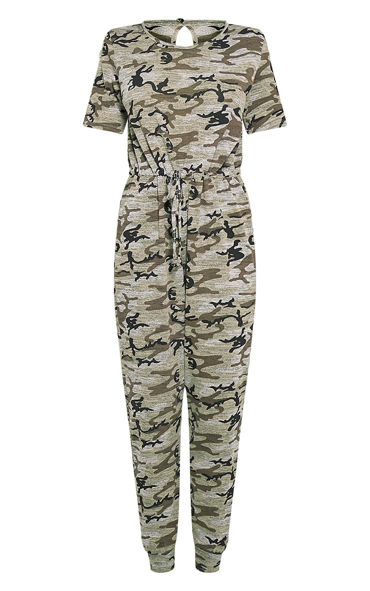 Kelsah Khaki Camouflage Casual Jumpsuit 3