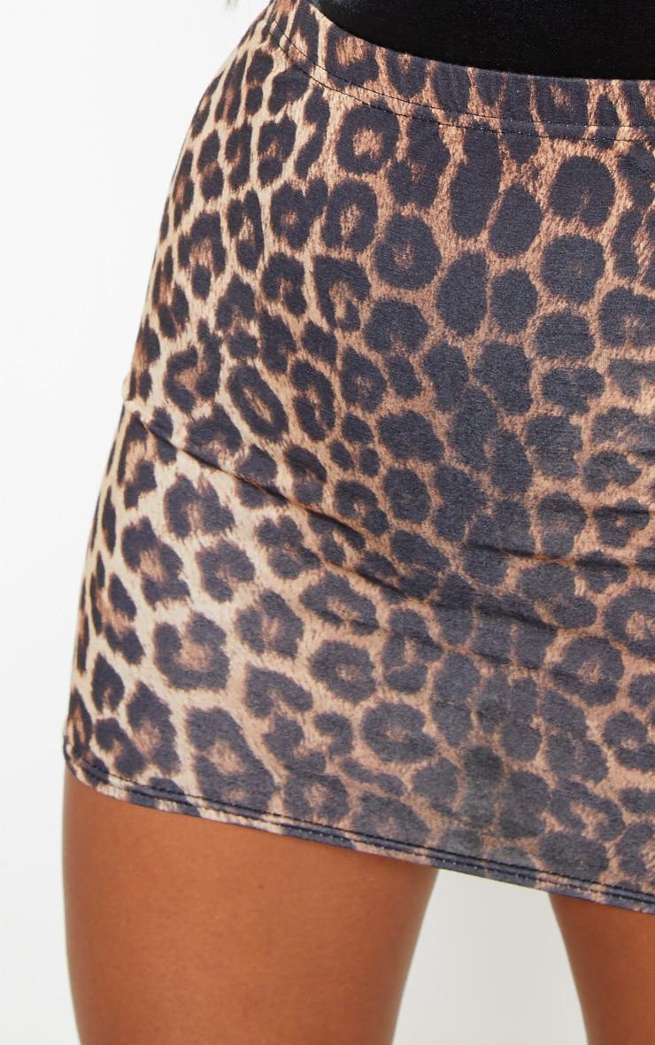 Tan Leopard Print Basic Mini Skirt 6