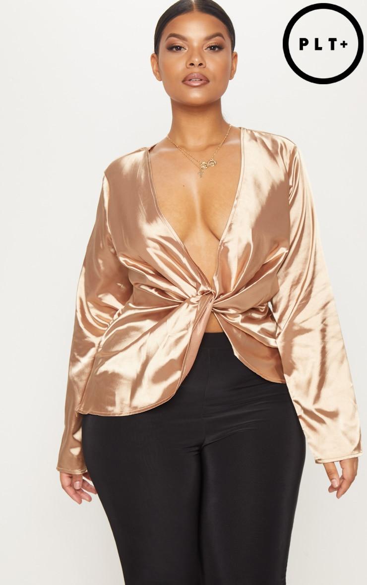 Plus Mocha Satin Twist Front Long Sleeve Blouse 1