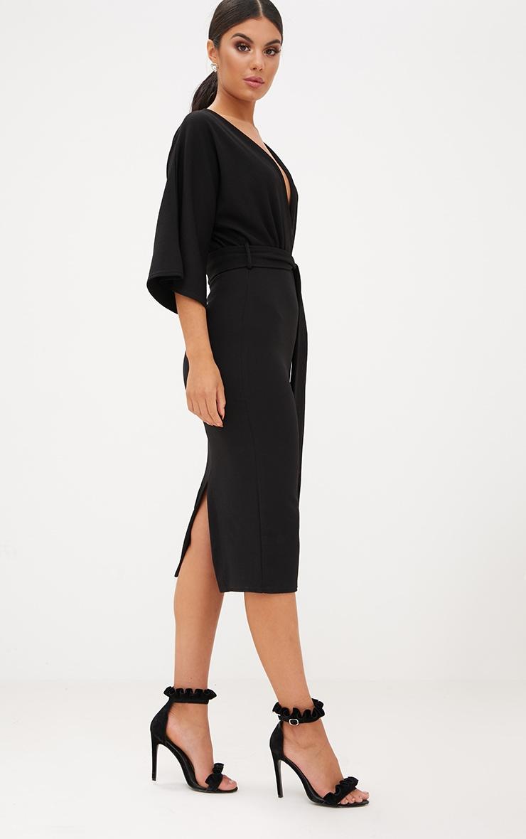 Black Kimono Sleeve Tie Waist Midi Dress 4
