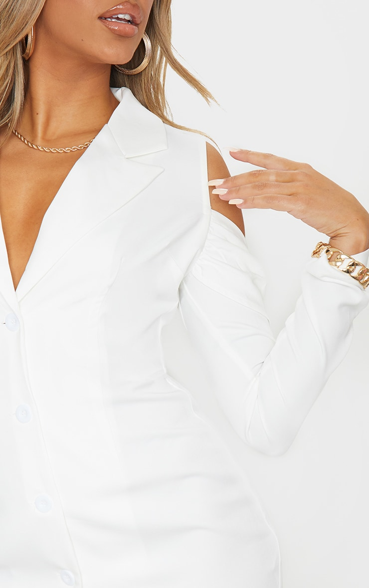 White Cold Shoulder Detail Blazer Dress 4