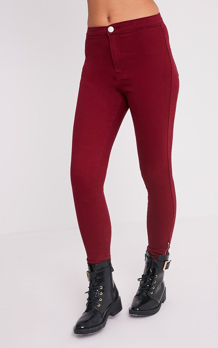 Dark Red High Waisted Skinny Jean 4