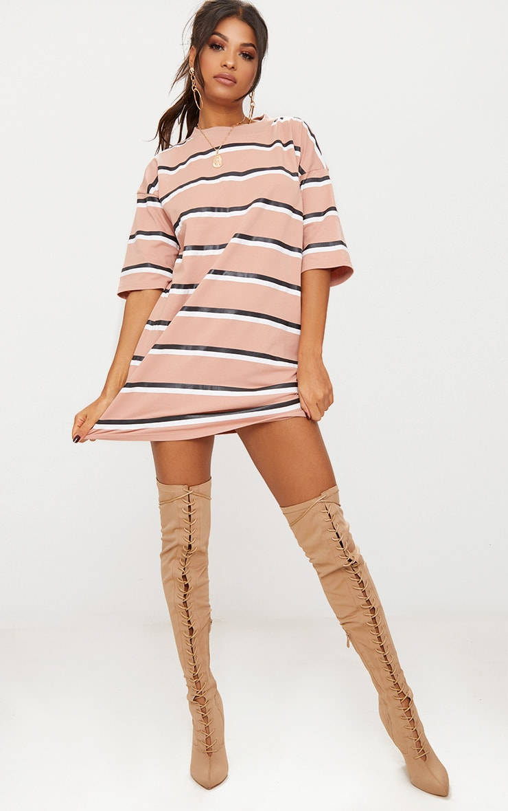 Camel Striped Oversized Boyfriend T Shirt Dress 4