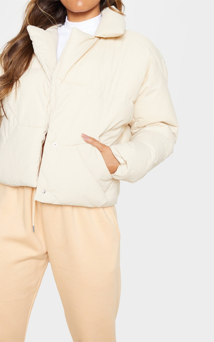Stone Peached Oversized Cropped Puffer 5