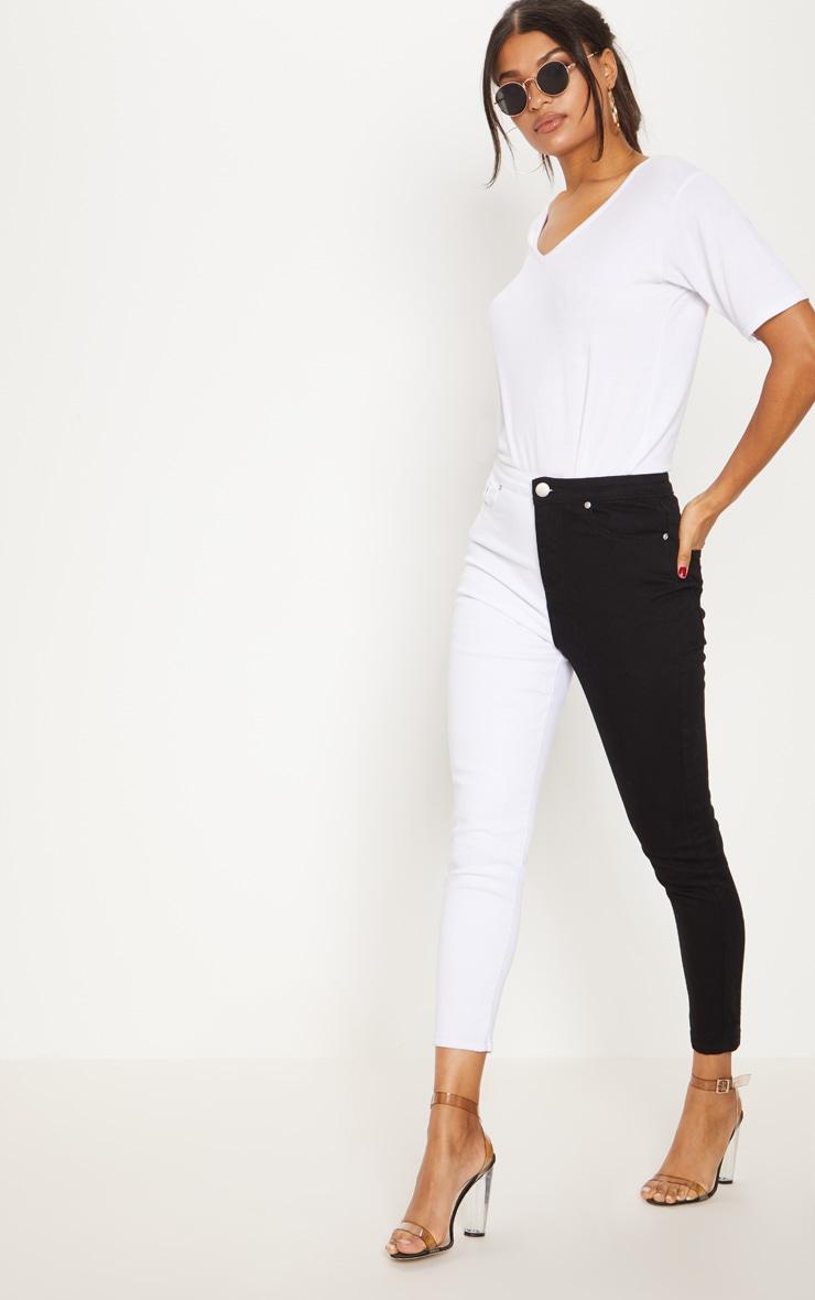 Monochrome Contrast Leg Mom Jean (Normal Zip) 1