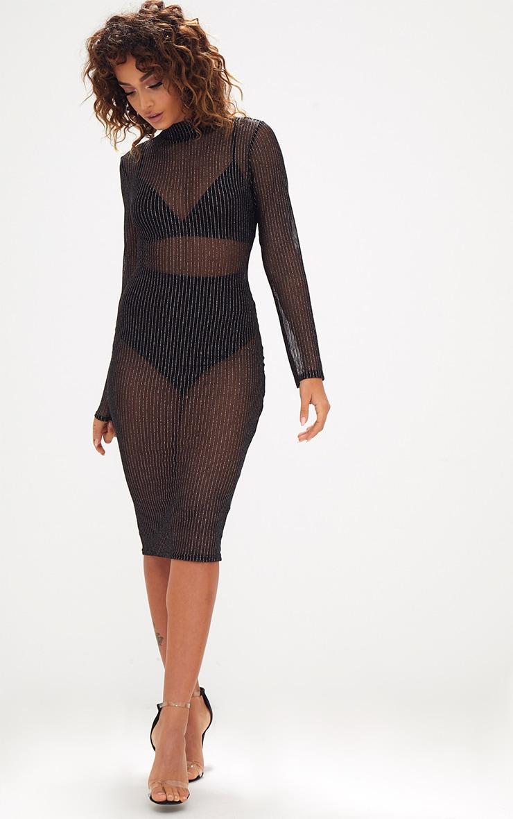 Black High Neck Long Sleeve Glitter Lurex Bodycon Dress 4
