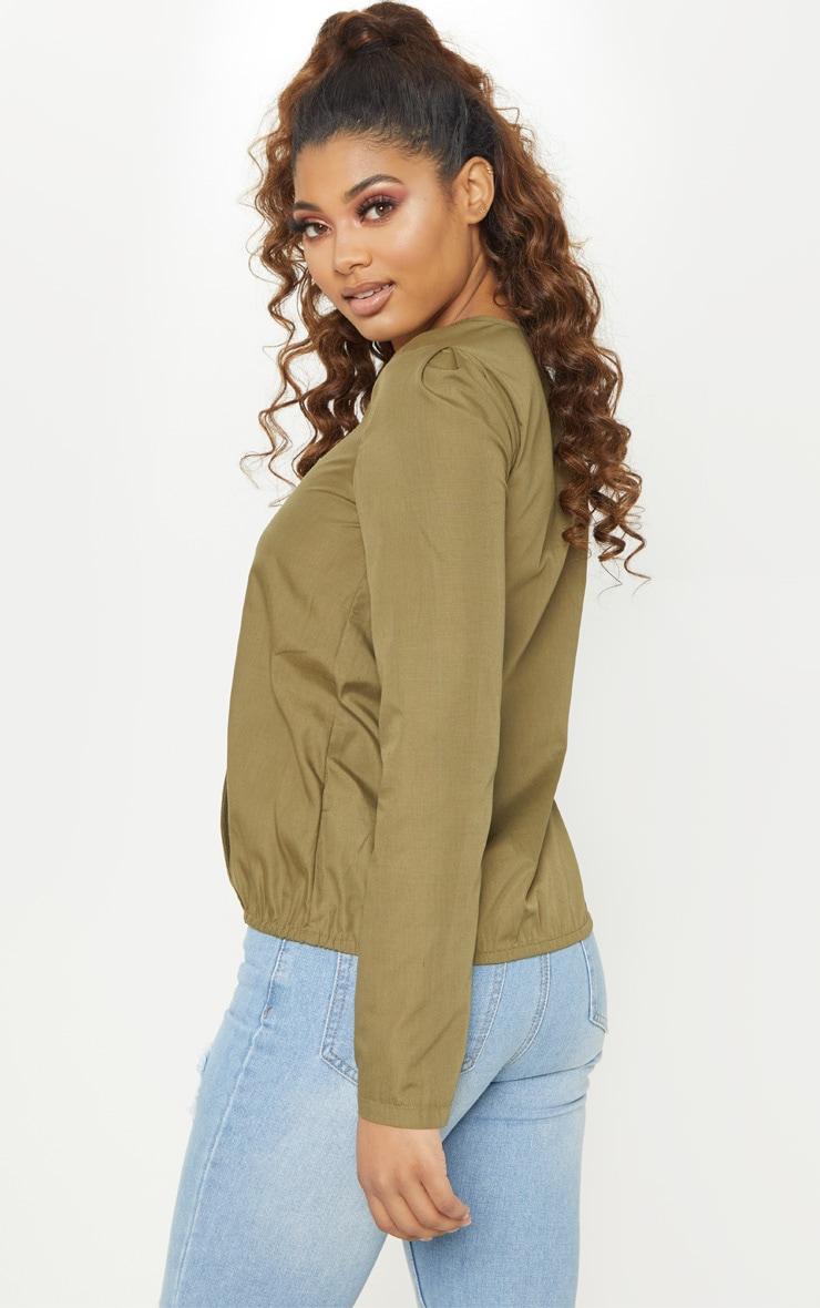 Tall Khaki Woven Button Front Blouse 2