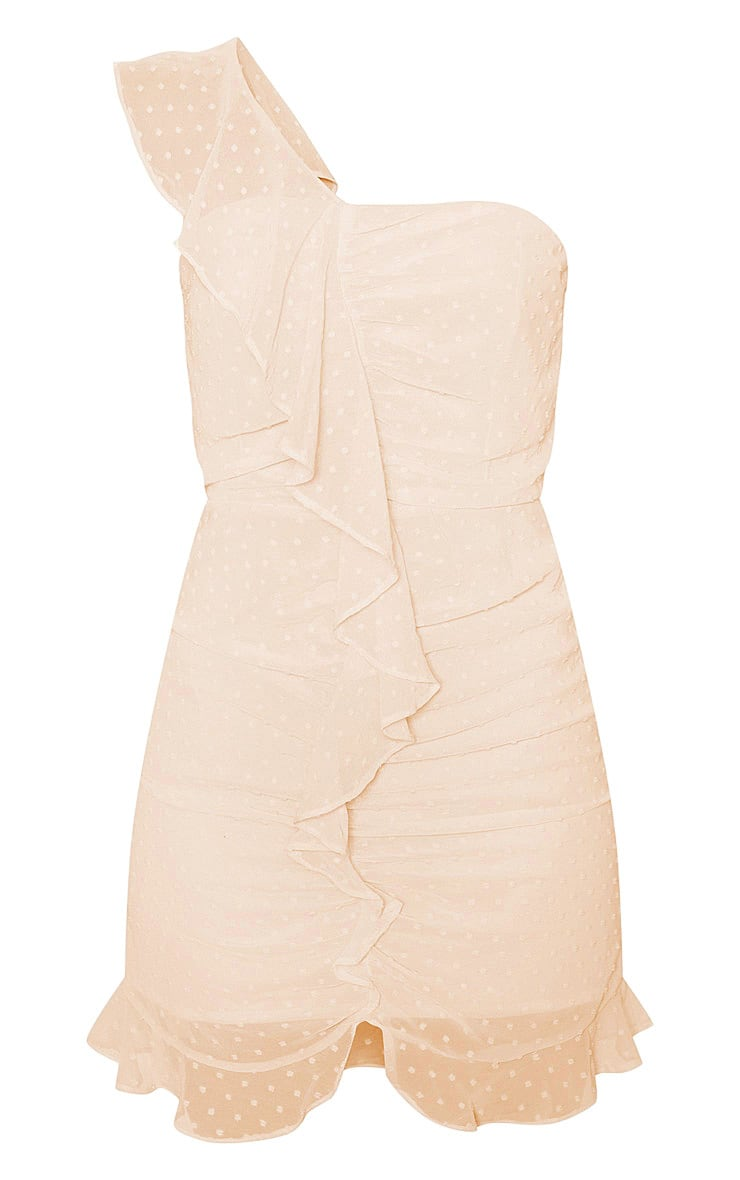 Nude Dobby Mesh One Shoulder Frill Bodycon Dress  3