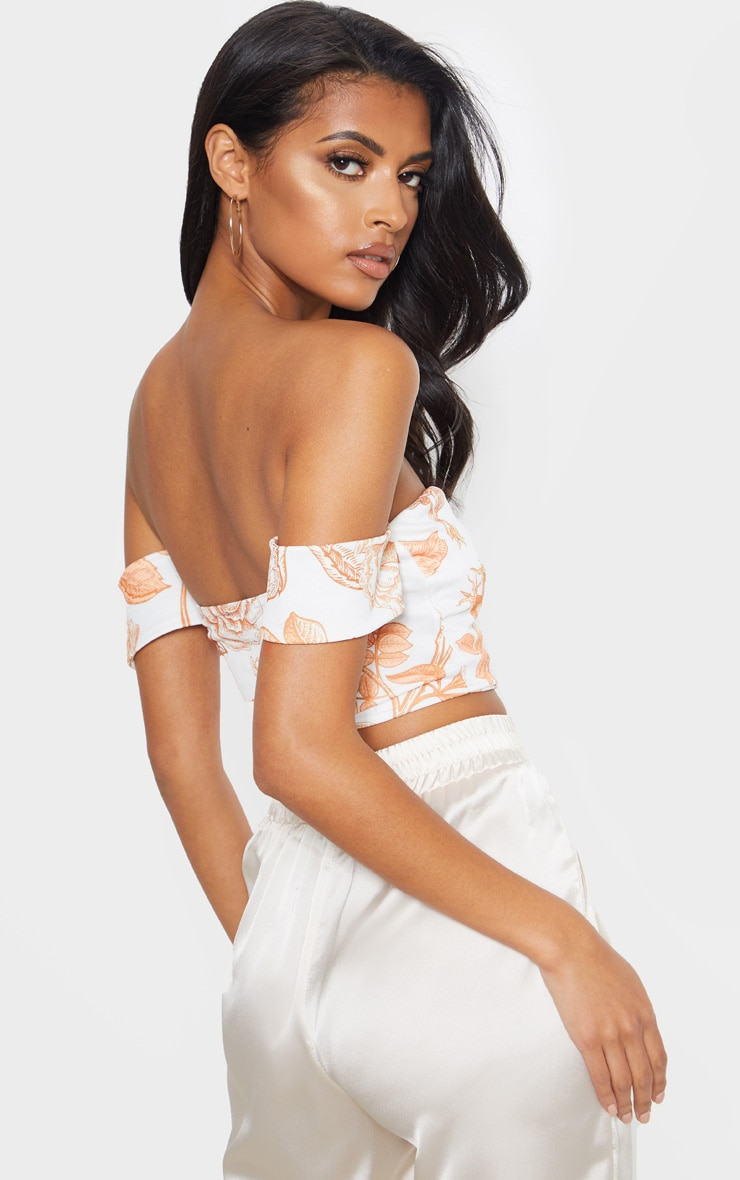 White Oriental Bardot Sweetheart Crop Top 2
