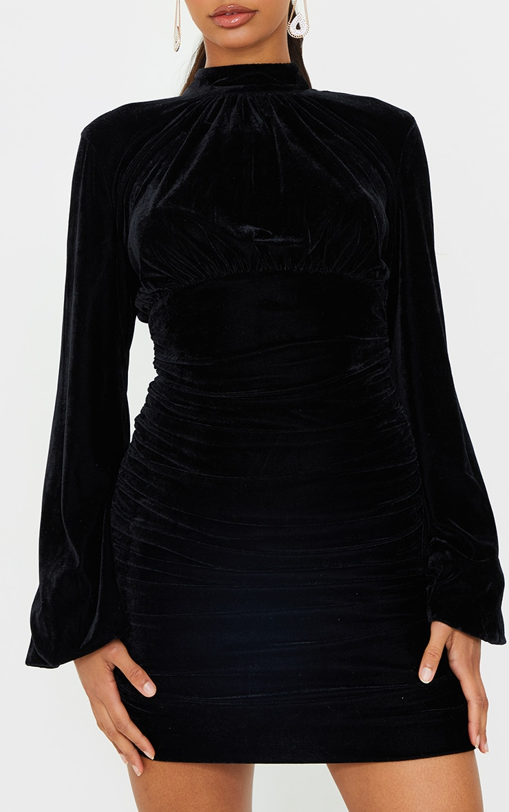 Black Velvet High Neck Ruched Balloon Sleeve Bodycon Dress 4