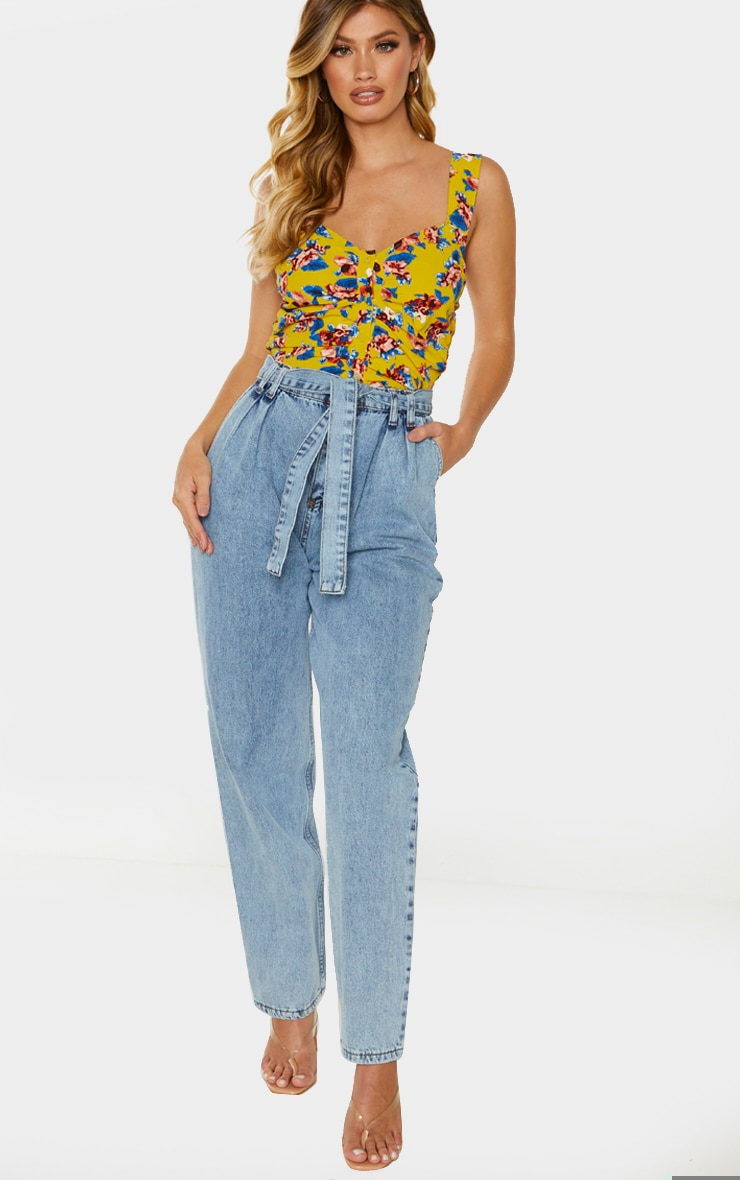 Yellow Ruched Floral Printed Cami Top 3