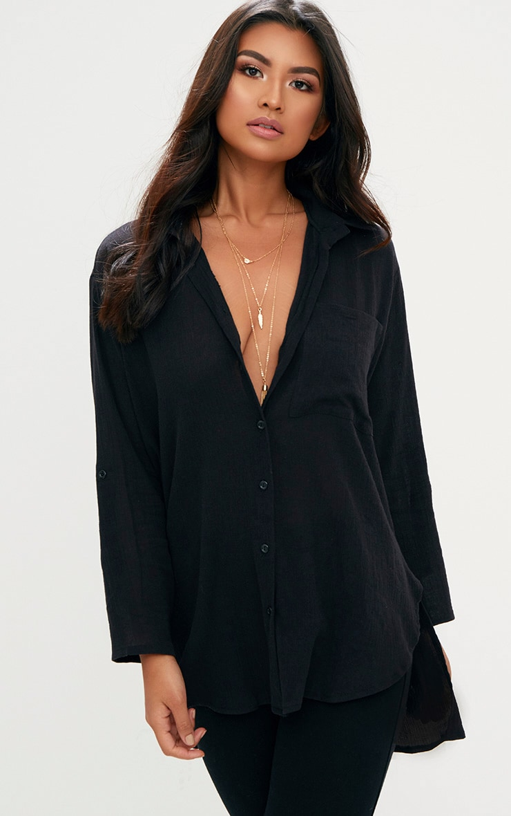 Black Cheesecloth Shirt 1