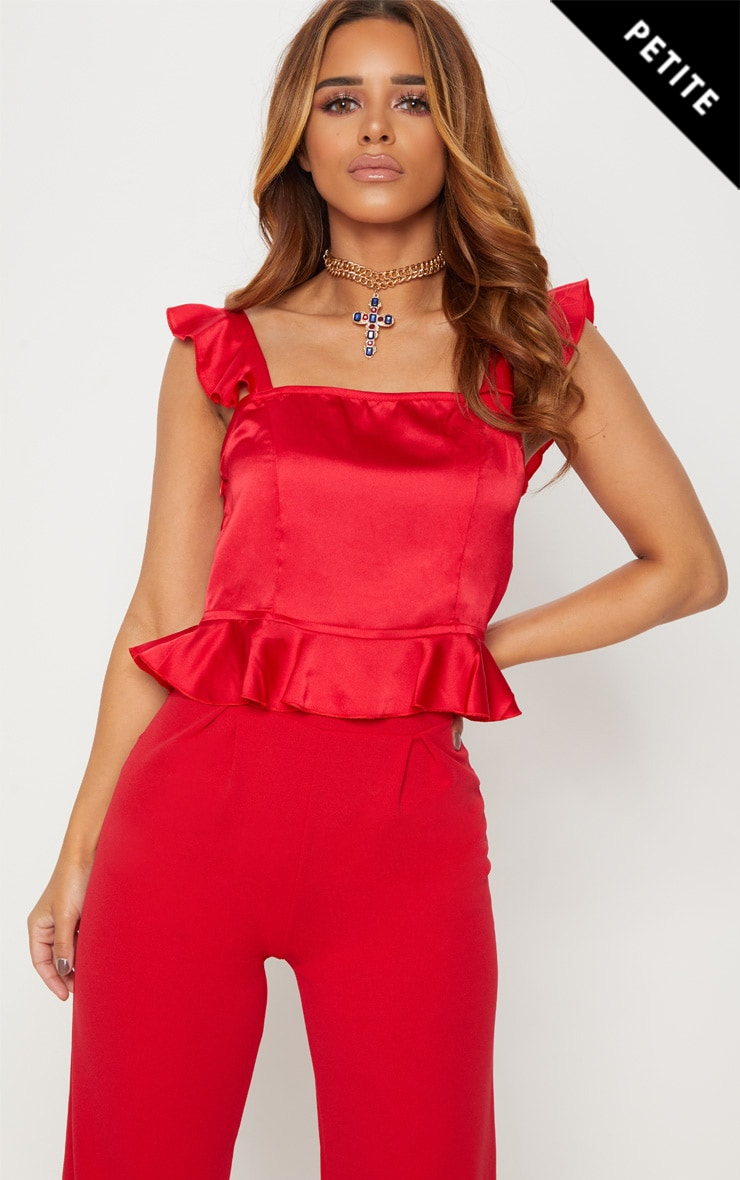 Petite Red Frill Strap Crop Top 1