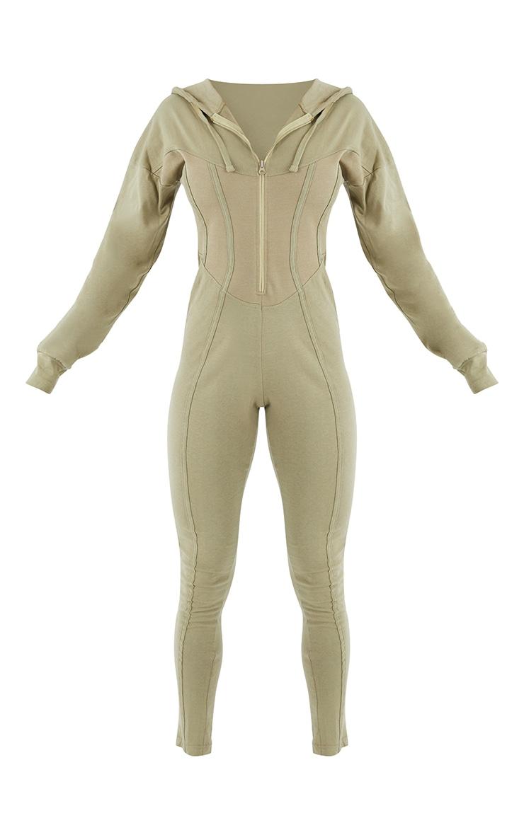 Khaki Corset Detail Long Sleeve Hooded Jumpsuit 5