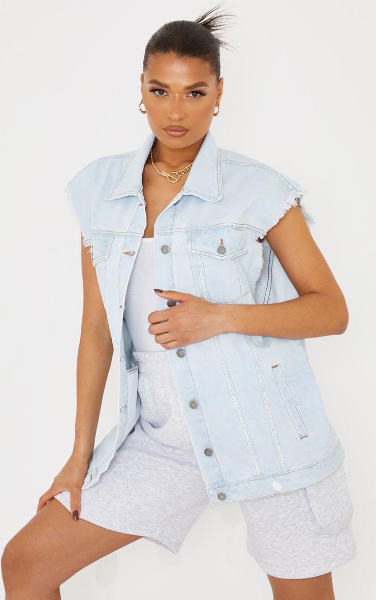 Light Blue Wash Sleeveless Denim Jacket 3