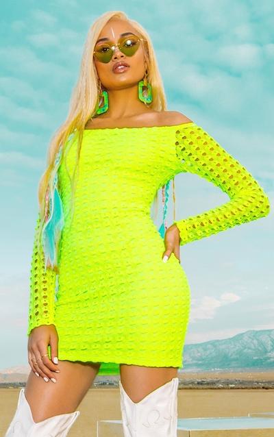 864b977b855 Neon Yellow Crochet Bardot Shift Dress