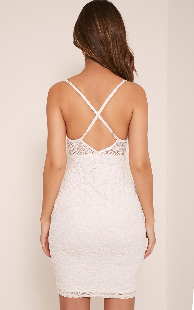 Lucila White Sheer Lace Bodycon Dress 2