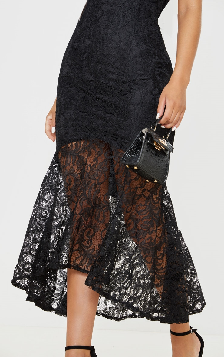 Black Lace High Neck Fishtail Midaxi Dress 5