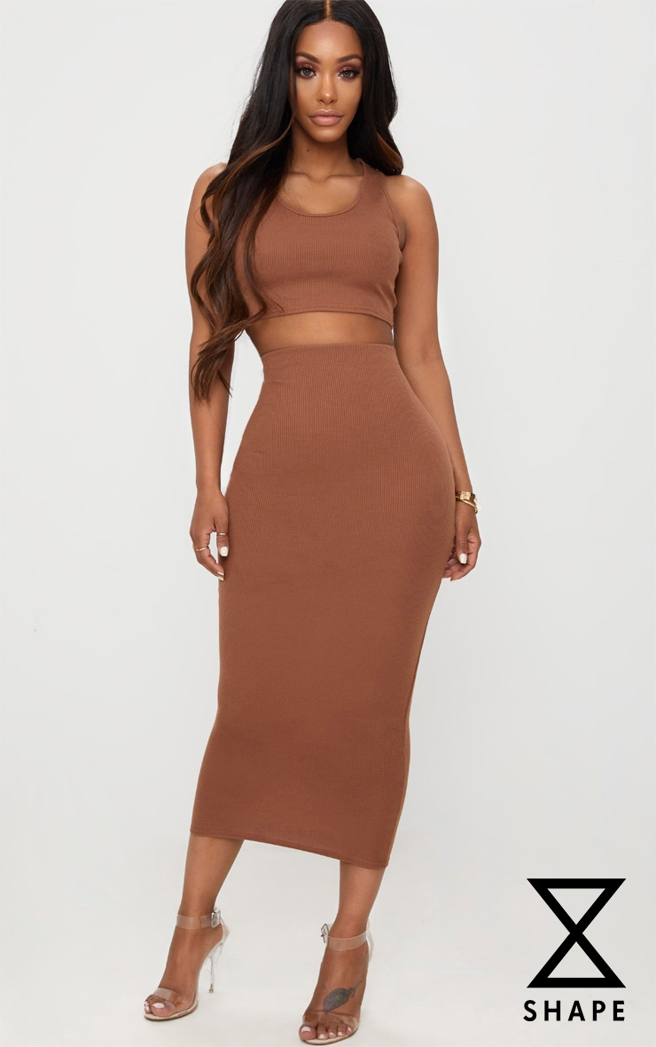 Shape Brown Ribbed Midi Skirt 1