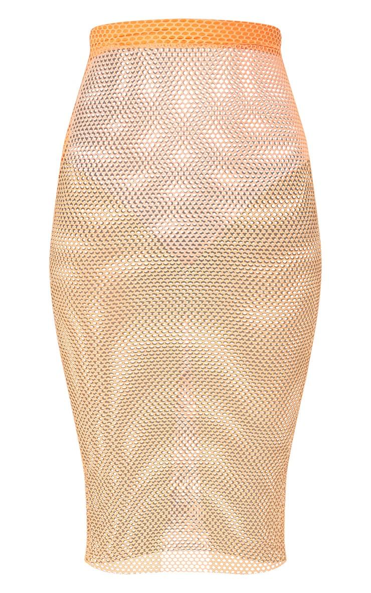 Orange Fishnet Midi Skirt 3