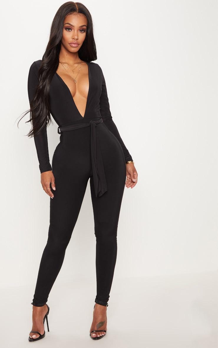Shape Black Slinky Tie Waist Jumpsuit 1