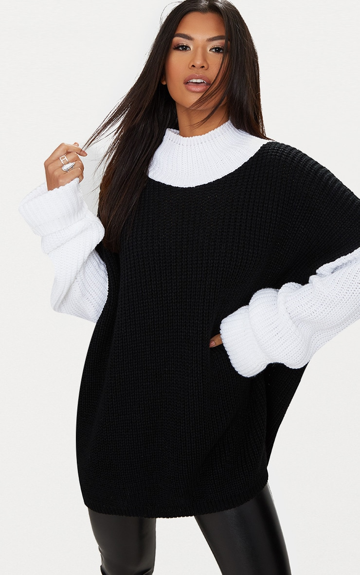Black Extreme Oversized Roll Neck Jumper 1
