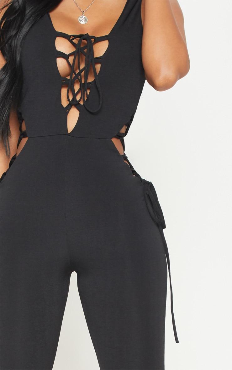 Shape Black Slinky Lace Up Detail Unitard 4