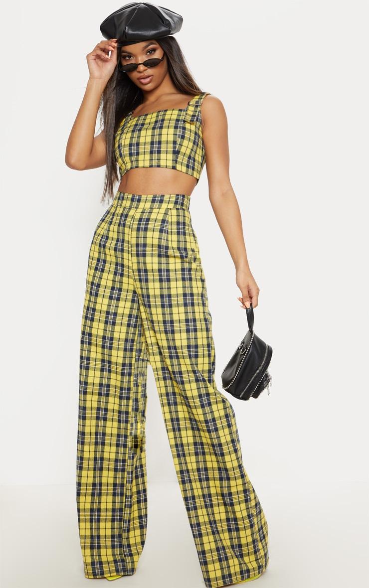 Pantalon ample jaune moutarde à carreaux