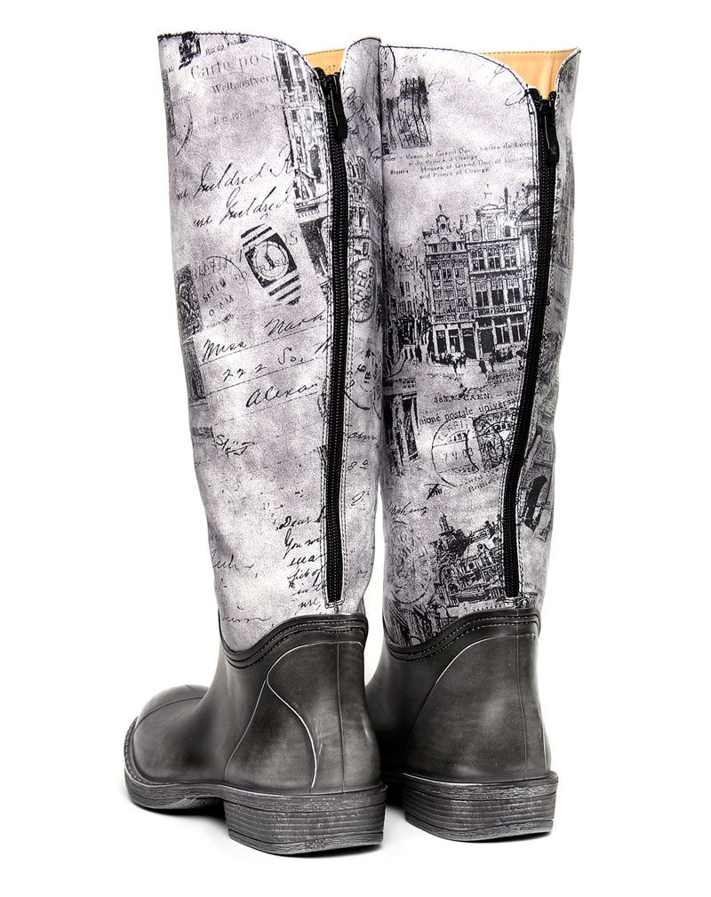 Lindi Black washed out print knee boots 3