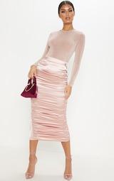 Light Pink Glitter Slinky Long Sleeve Crew Neck Bodysuit image 5 9e22d17b4f07