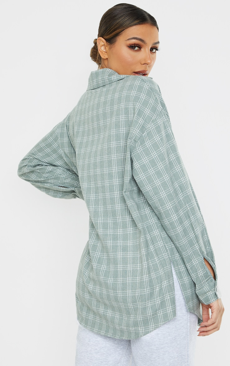 Maternity Washed Green Checked Oversized Shirt 2