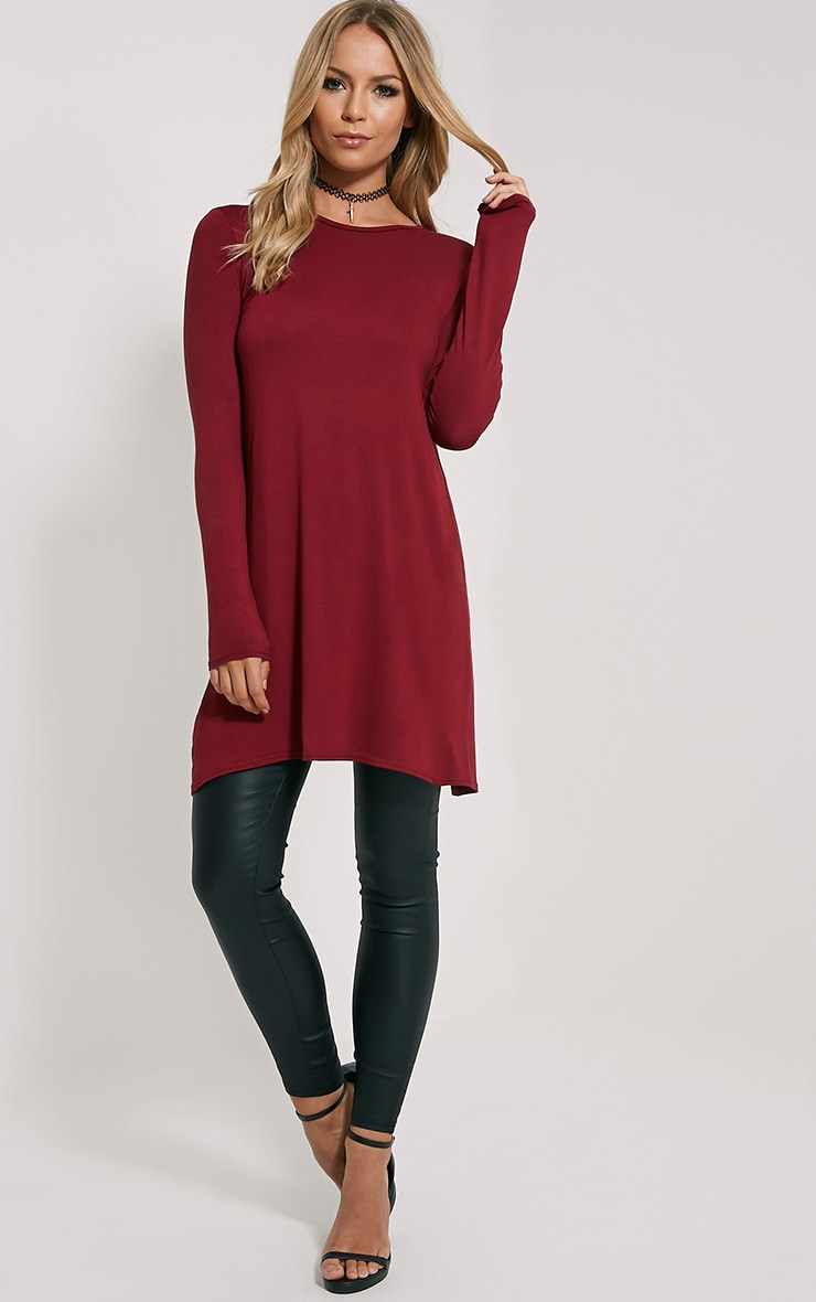 Eldora Burgundy Longline Split Back Top 3