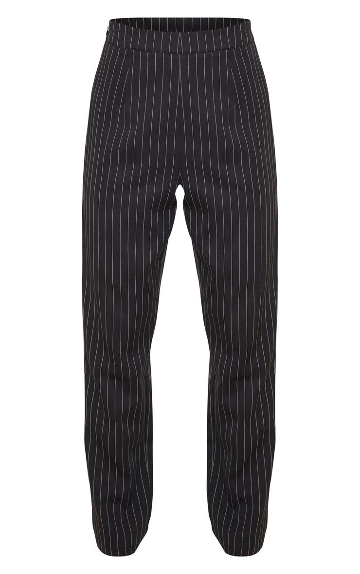Petite Black Pinstripe Straight Leg Trouser 3