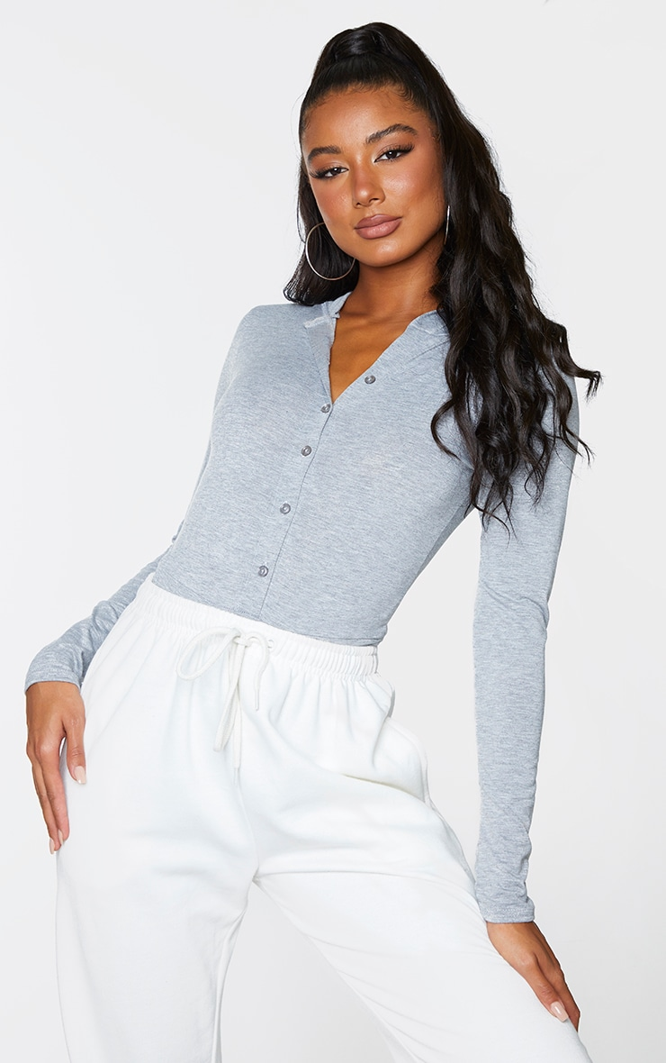 Grey Jersey Button Up Hooded Bodysuit 1