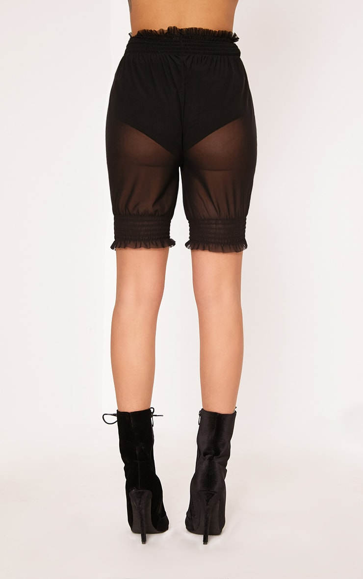 Black Sheer Frill Trim Cycle Shorts 4