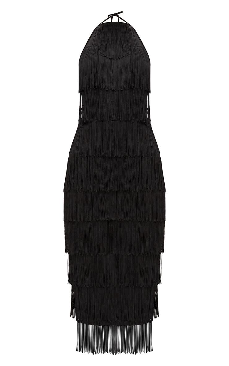 Black Tassel Halterneck Midi Dress 3