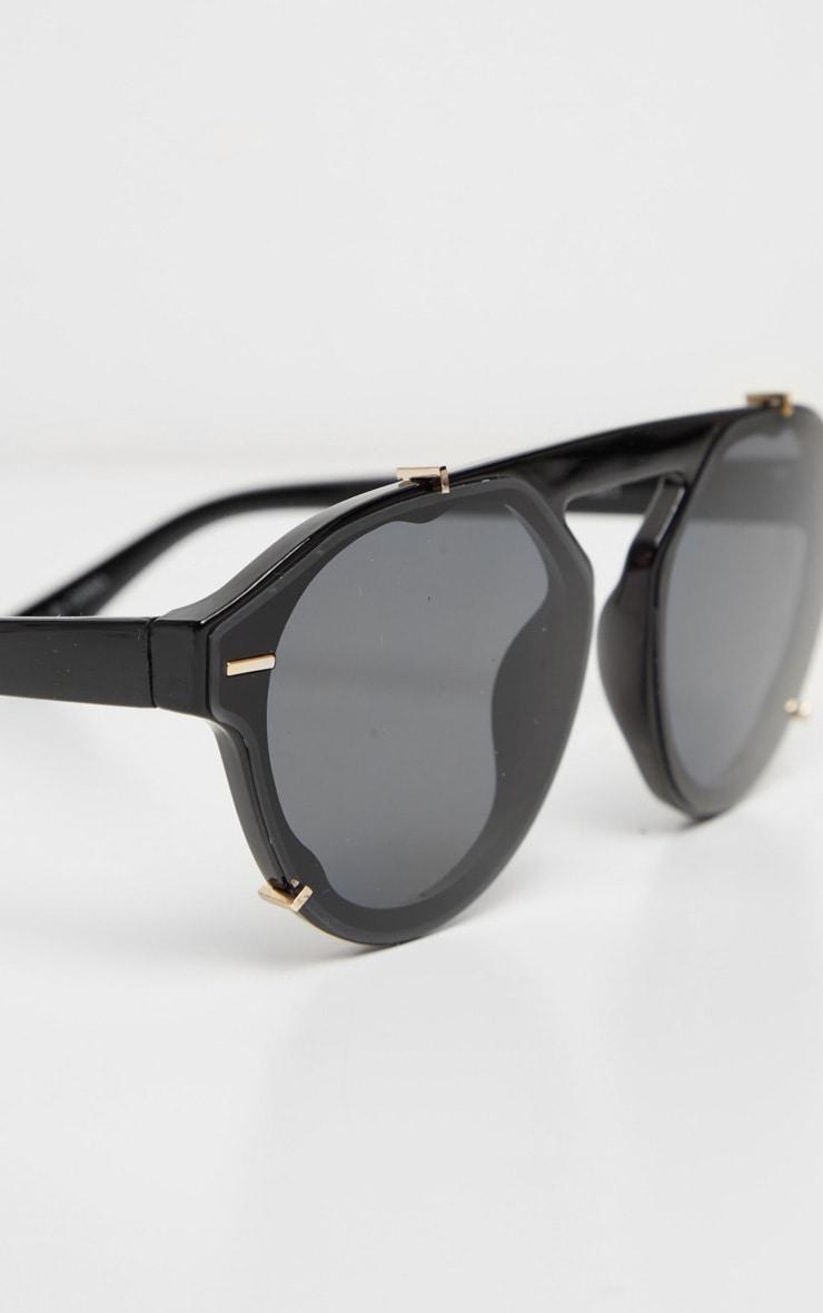 Black Frame Oversized Aviator Sunglasses 3