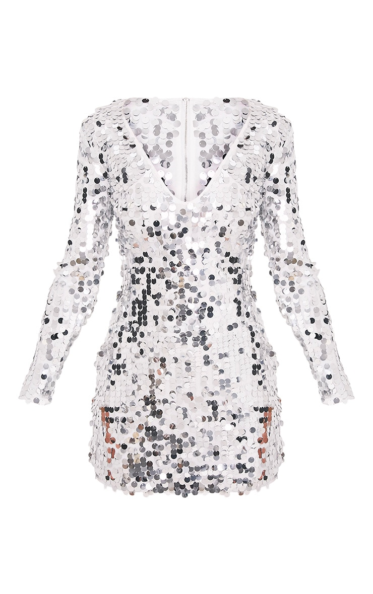 Janelle Silver Long Sleeve Plunge Sequin Bodycon Dress 3