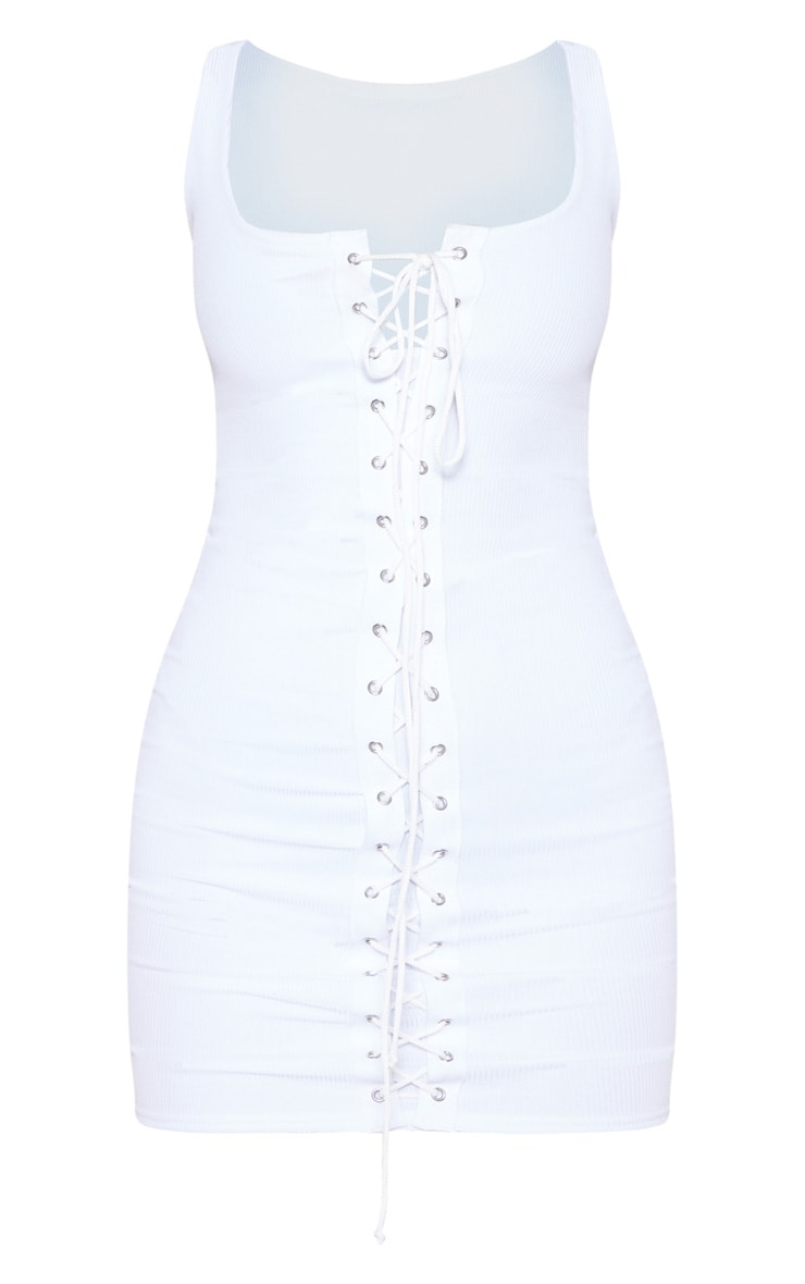White Ribbed Tie Front Bodycon Dress 4